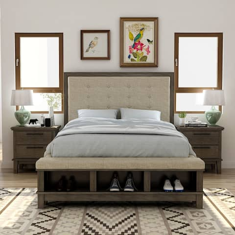 Furniture of America Trom Grey 3-piece Bedroom Set with 2 Nightstands