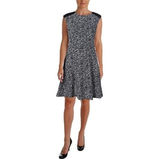 Lauren Ralph Lauren Womens Petites Printed Sleeveless Wear to Work Dress