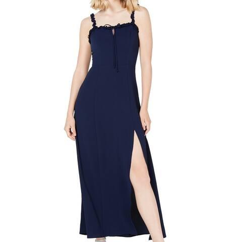 Teeze Me Navy Blue Size 10 Junior Maxi Dress T High Slit Keyhole Lace Up
