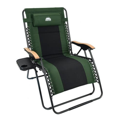 Padded XL Zero Gravity Chair Wood Armrests w/ Side Tray
