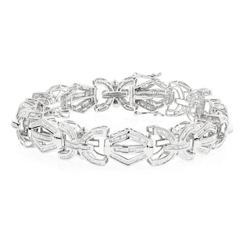 Mens Modern Solid Gold Baguette Cut Diamond Bracelet 7.95ctw in 10k Gold by Luxurman