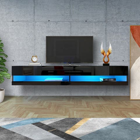 """180 Wall Mounted Floating 80"""" TV Stand with 20 Color LEDs"""