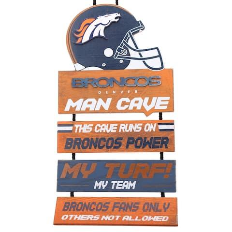 Denver Broncos 2018 Man Cave Hanging Wall Sign