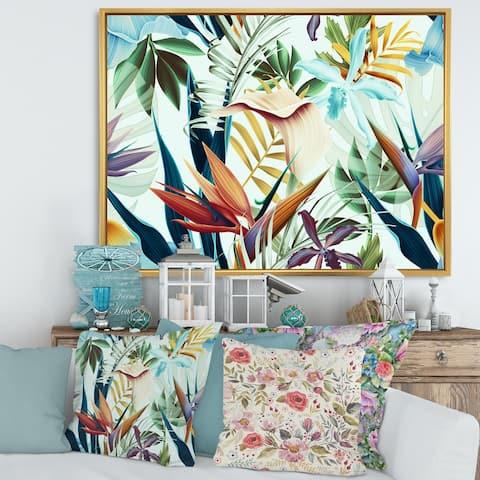 Designart 'Tropical VIntage Flowers I' Tropical Framed Canvas Wall Art Print