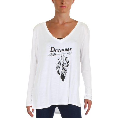PPLA Womens Dreamer Casual Top Hi Low Graphic