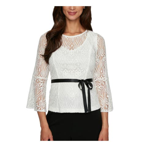 ALEX EVENINGS Womens Ivory 3/4 Sleeve Jewel Neck Party Top Size PM