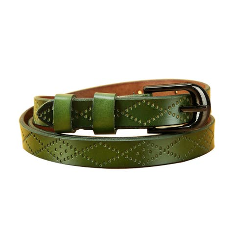 Women Exotic Embossed Diamond Pattern Single Pin Buckle Slender Waist Belt Green