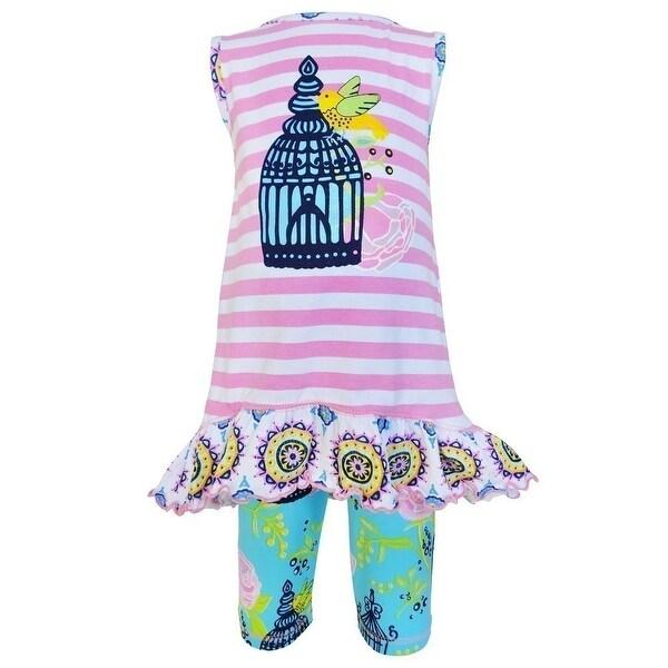 AnnLoren Baby Girls Pink Stripe Cage Bird Print Capri Legging Set