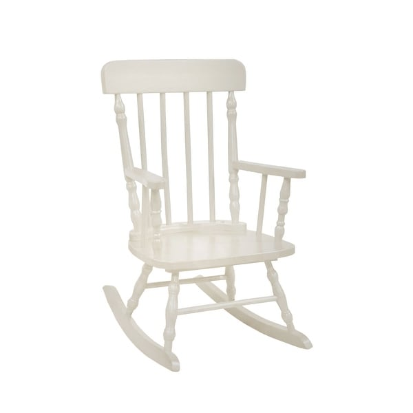 Traditional Style Wooden Kids Rocking Chair with Spindle Back, White
