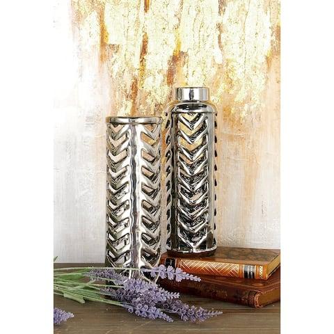 Silver Stoneware Glam Vase (Set of 2)