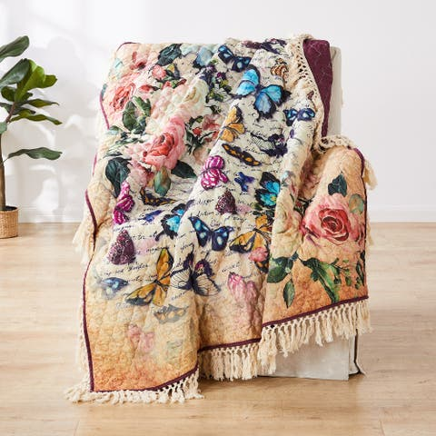 Barefoot Bungalow Gigi Butterflies Fringed and Quilted Throw Blanket
