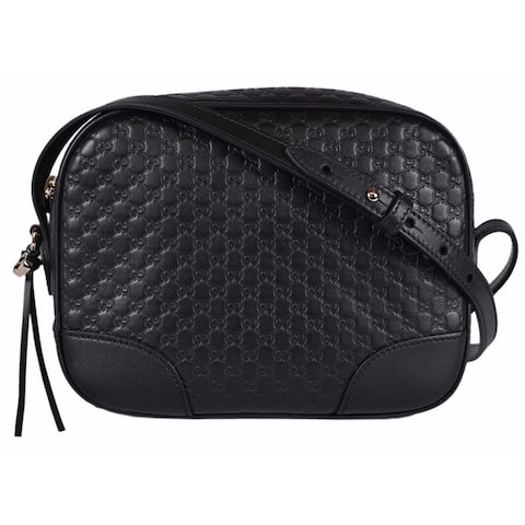 d9dd0f51d69c81 Gucci 449413 Black Leather Micro GG Guccissima BREE Crossbody Purse Bag -  8.5
