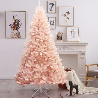 Pink Faux PVC Christmas Tree with Iron Stand 7-Foot Deals