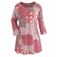 Catalog Classics Women's Candied Apple Abstract Tunic -Scoop Neck 3/4 Sleeve Top