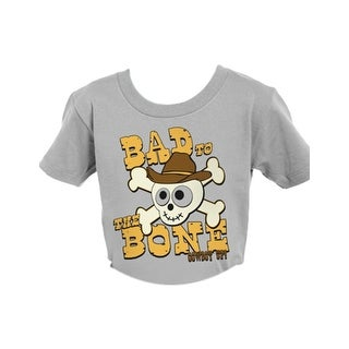 Cowboy Up Western Shirt Boys Toddler Bad To The Bone S/S Gray T237