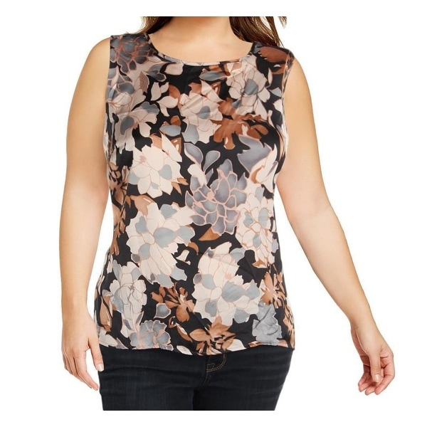 ba73be2063810 Shop Kasper Brown Black Womens Size 3X Plus Floral Sleeveless Blouse - Free  Shipping On Orders Over  45 - Overstock - 26999927