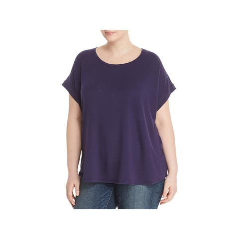 Cupio Womens Plus T-Shirt Split Scoop-Neck