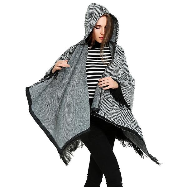 8d86458d48210 QZUnique Women's Tassel Hoodie Poncho Cape CloakSweater Coat Cardigan