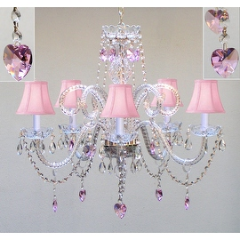 Chandelier Lighting With Crystal Pink Shades &*Hearts*H25 x W24 Perfect for Kid's Rooms