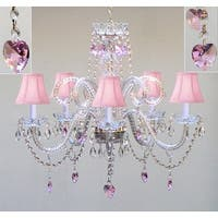 Chandelier Lighting With Crystal Pink Shades &*Hearts*H25 x W24