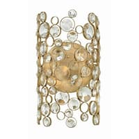 """Fredrick Ramond FR44812 Anya 2-Light 8"""" Wide Wall Sconce with Crystal Accents - silver leaf"""