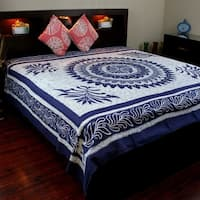 Cotton Batik Mandala Bedspread Coverlet Tapestry Wall Hanging Throw Tablecloth Rectangular Wall Decor Twin Full King Blue