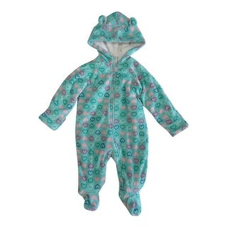 Healthtex Baby Girls Mint Aqua Heart Pattern Full Body Hooded Bodysuit