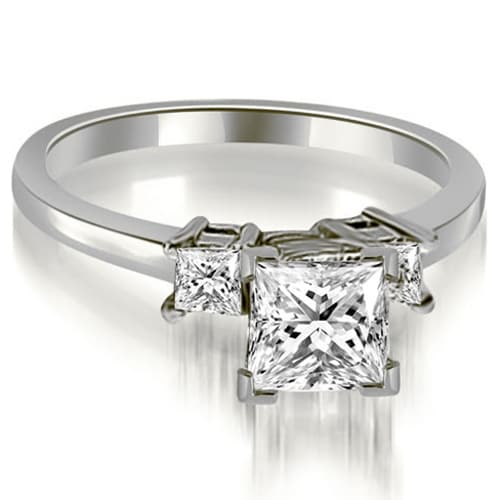1.35 cttw. 14K White Gold Princess Cut Diamond Engagement Ring