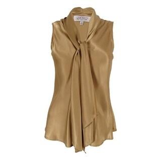 Kasper Women's Sleeveless Tie-Neck Blouse (Toffee, XS) - xs