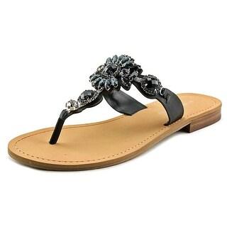 Ivanka Trump Palista Women Open Toe Leather Black Thong Sandal