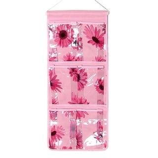 Flower Print PVC 6 Gaps Nylon Back Hanging Organizer Bag Pink