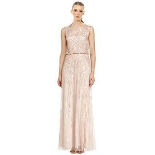 Aidan Mattox Beaded Illusion Neck Sleeveless Evening Gown Dress - 2