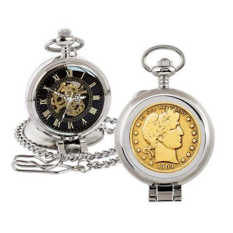 Gold-Layered Silver Barber Half Dollar Coin Pocket Watch with Skeleton Movement - 2.75 x 1.5