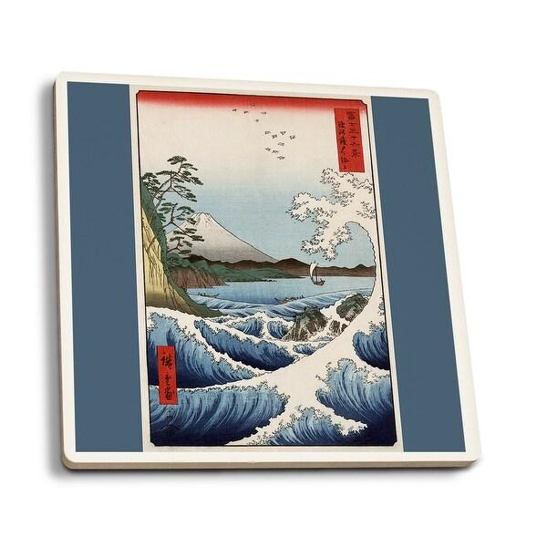 Sea at Satta in Suruga Province Japanese Wood-Cut (Set of 4 Ceramic Coasters)