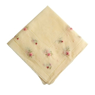 Pink Rosebuds Embroidered on Yellow Handkerchief