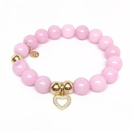 Pink Jade Heart Charm stretch bracelet 14k over Sterling Silver
