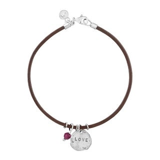 'Love' Leather Charm Bracelet with Natural Garnet in Sterling Silver - Red