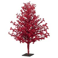 """24"""" Red Iced Novelty Decorative Artificial Christmas Twig Tree - Unlit"""