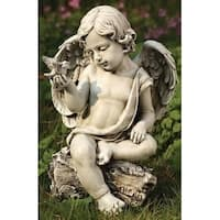 "12"" Joseph's Studio Cherub Angel with Dove Outdoor Garden Figure - White"