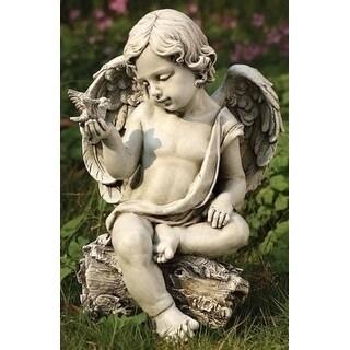 """12"""" Joseph's Studio Cherub Angel with Dove Outdoor Garden Figure"""