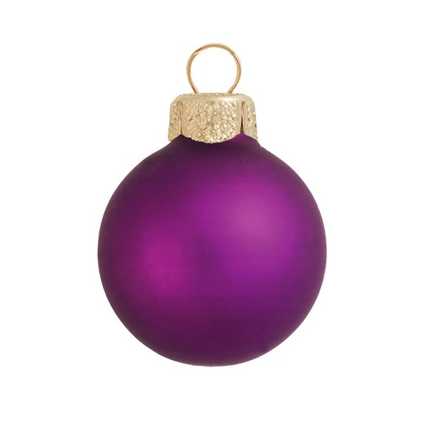 "28ct Matte Soft Grape Purple Glass Ball Christmas Ornaments 2"" (50mm)"