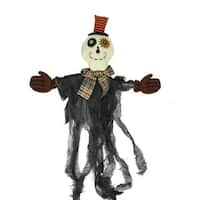 """34"""" Musical Lighted Eerie Shaking Ghost Hanging Halloween Decoration - Black"""