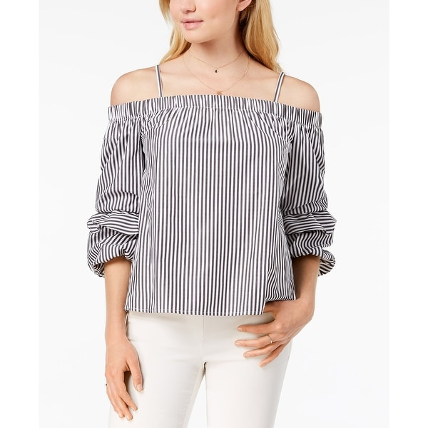 BCX White Gray Women's XS Off Shoulder Striped Puffed-Sleeve Blouse