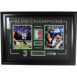 Russell Wilson Signed Rookie Card Super Bowl Framed 22x31 Collage ()