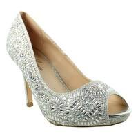 Lauren Lorraine Womens Paula-2 Silver Open Toe Heels Size 7