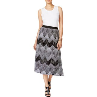 NY Collection Womens Pleated Skirt Printed Casual - pm