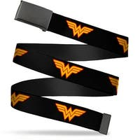"Blank Black 1.25"" Buckle Wonder Woman Logo Black Webbing Web Belt 1.25"" Wide - M"