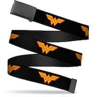 """Blank Black 1.25"""" Buckle Wonder Woman Logo Black Webbing Web Belt 1.25"""" Wide - M"""