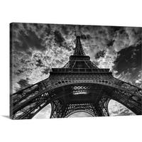 Premium Thick-Wrap Canvas entitled Eiffel tower and cloudy sky in Paris. - Multi-color