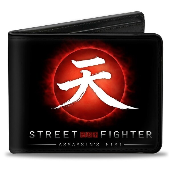 Street Fighter Assassin's Fist Akuma Symbol Rising Sun Black Red White Bi Bi-Fold Wallet - One Size Fits most